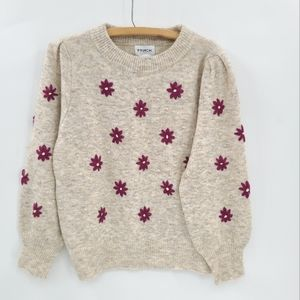 FRNCH Paris Noisette Purple Flowers Embroidered Sweater